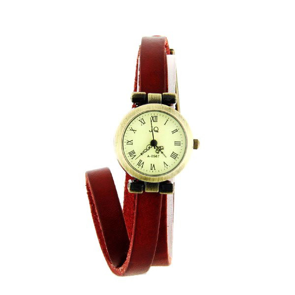 montre bracelet long en cuir rouge style vintage chiffre. Black Bedroom Furniture Sets. Home Design Ideas