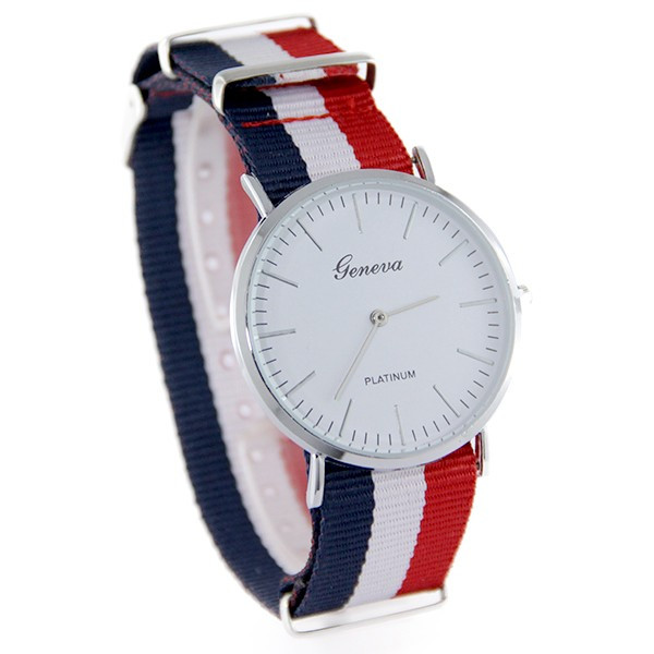 montre homme bracelet bleu blanc rouge. Black Bedroom Furniture Sets. Home Design Ideas