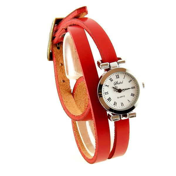 Extrêmement Montre bracelet long pas chère femme rouge boitîer argent QI46