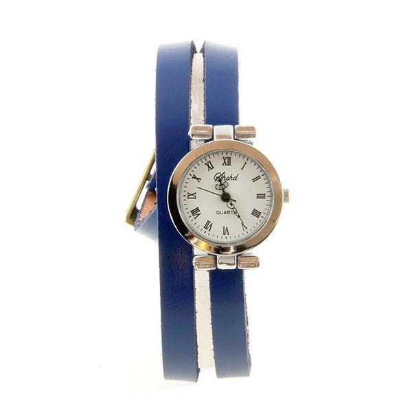 bracelet double tour cuir bleu montre femme pas ch re. Black Bedroom Furniture Sets. Home Design Ideas