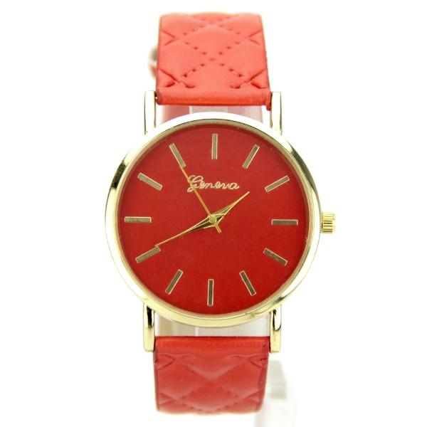 Bien-aimé femme bracelet cuir PU rouge marque Geneva YY01