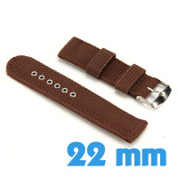 Bracelet Nylon Marron pour montre 22mm