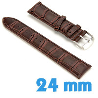 Bracelet de montre Marron Cuir Synthétique croco 2.4 cm