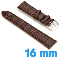Bracelet Cuir Synthétique 1.6 cm Marron de montre croco
