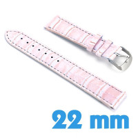 Bracelet Cuir Synthétique croco Rose saumon de montre 2.2 cm
