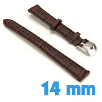 Bracelet Cuir Synthétique 14 mm Marron de montre croco