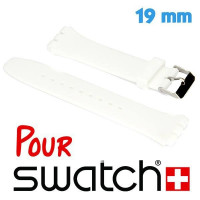 Bracelet montre Swatch Blanc Silicone lisse 19 mm
