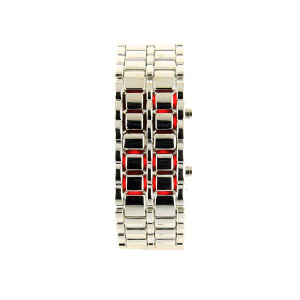 Montre Samurai Argenté LED Rouge