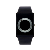 Montre futuriste rectangle cercle  design noire