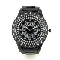 "Montre ""bling-bling"" gangsta strass rap hip-hop luxe noir diamant brillant"