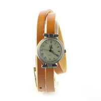 Bracelet long cuir orange montre femme