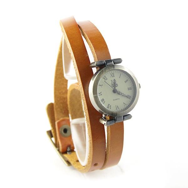 bracelet long cuir orange montre femme. Black Bedroom Furniture Sets. Home Design Ideas