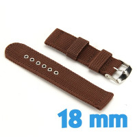 Bracelet 18 mm de montre Marron Nylon