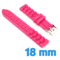 Bracelet de montre Rose fluo Silicone  18 mm