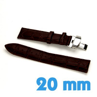 Bracelet papillon 20mm Brun montre Cuir croco