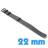 Bracelet 22mm Gris de montre Nylon