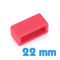 Passant de montre silicone rouge large 22 mm